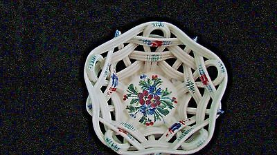Capodimonte Porcelian, Woven, Hand-Painted, Glazed Basket Made In Italy