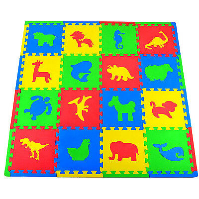 Kids Foam Floor Animals Puzzle Play Mat Gym Toy 16 PCS Baby Toddler Soft Playmat