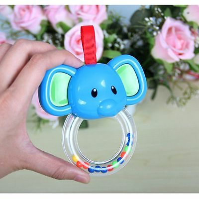 Infant Animal Cow Elephant Baby Rattle Toy Hand Bells Music