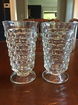 """Indiana Glass Co:  WHITEHALL Pattern  PAIR OF 2 FOOTED ICE TEA GLASSES: 12 oz 6"""""""