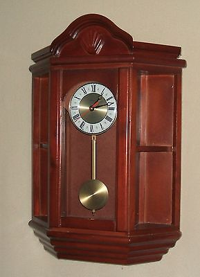 Stratford Cherry Stained Curio/Display Wall Cabinet with Clock and Pendulum