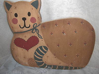 Vintage  Collectible Wood Heart Cat Kitten Hanging Wall Plaque 1980's