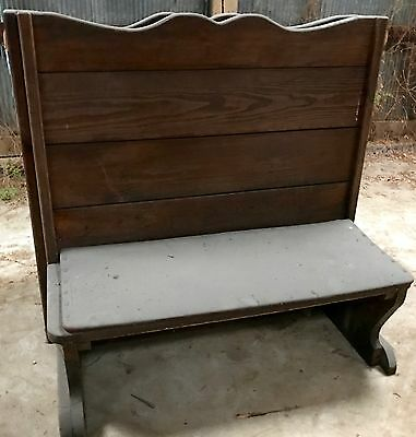 Antique wooden diner bench... Padded seat upright wooden back/  10 Available