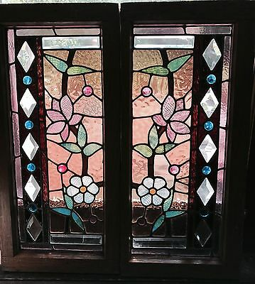 Great pair of Chicago stained and beveled windows