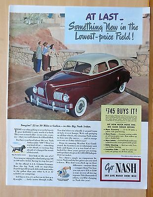 1941 magazine ad for Nash - color photo of Slipstream Sedan at Hoover Dam