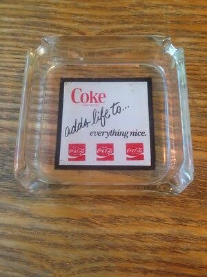 Vintage - 1970s - Coca-Cola - Glass Ash Tray - Coke Adds Life to Everything Nice