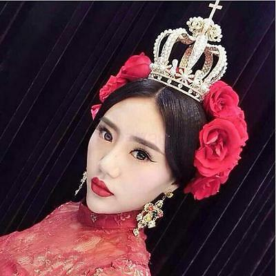 Vintage Baroque Pearls Queen Crown Tiara Wedding Headpiece Women Party Costume