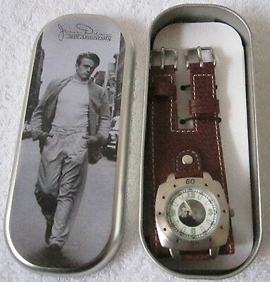 2004 James Deans 50th Anniversary Brown Lether Lady's  Watch in Tin Metal Box #8