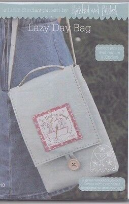 Lazy Day Bag - pretty stitchery & pieced PATTERN - Hatched & Patched