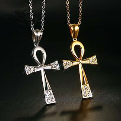 """P47 20-36/""""Mens Stainless Steel Egyptian Ankh Cross Pendant Necklace Chain"""
