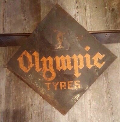 RARE vintage Olympic Tyres SIGN w/ Olympian -- Tires -- oil gas service station