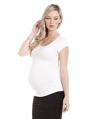BNWT Bamboo Body Ruched Maternity T-Shirt Size M (12) White (top tee summer)