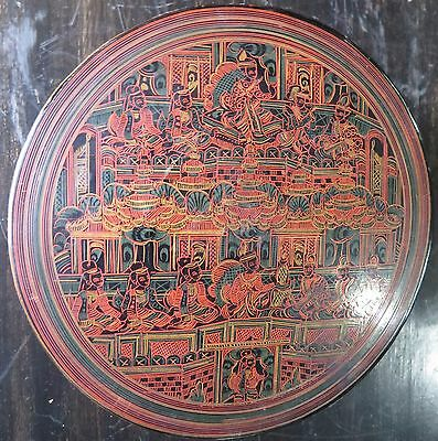 "Antique Burmese Cinnabar Lacquer Betel Nut Box Early (Kun-It)- 3.2"" x 6.0"" dia."