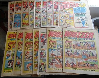 16 x Whizzer & Chips comics from 1973 to 1980