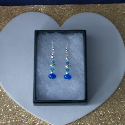 Beautiful Earrings With Sapphire & Crystal  3 Gr.3.4 Cm Long+Silver Hooks In Box