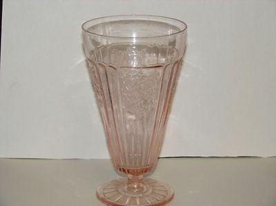 Hocking Mayfair Open Rose Pink Footed Iced Tea Tumbler 6.5 Inch
