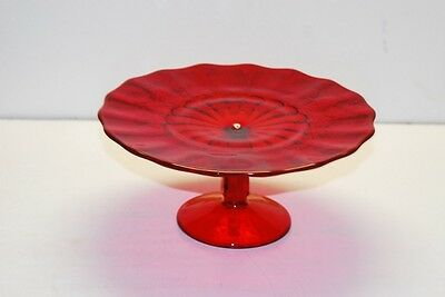 L G LG Wright Paneled Grape Ruby Red Pedestal Cake Stand