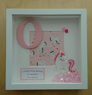 Unicorn, baby childrens girls gift, personalised pink glitter box frame