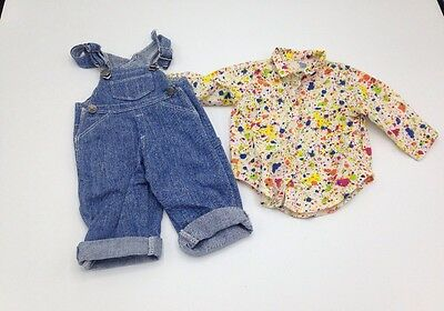 American Girl Pleasant Company Artist Outfit Overalls Paint Shirt Retired 2001