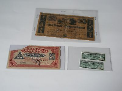 1840 $1000 Bank Note + Mohawk Malone interest coupon + Schulte Cigar coupon