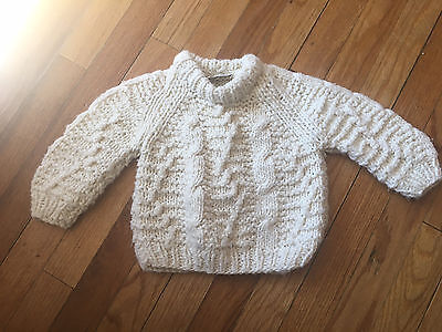 baby fishermans sweater 12M cable knit cream made in Portugal wool acrylic blend