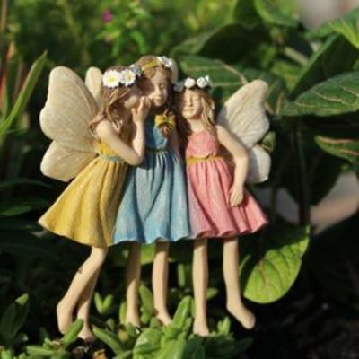 Miniature Fairy Garden Dollhouse Sharing Secrets Sister Friends Fairies Figurine
