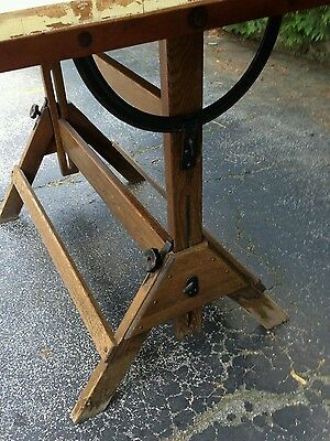 Vintage Antique Oak Hamilton Wood Cast Iron Drafting Drawing Kitchen Table