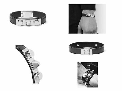 $395 Saint Laurent Black Leather Silver-Tone Plaque Bracelet