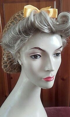 Vintage style 1940's handmade hair snood wartime ww2 hairnet gold yellow mohair