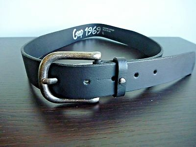 "Leather Belt GAP 1969 Black Large 32"" New"