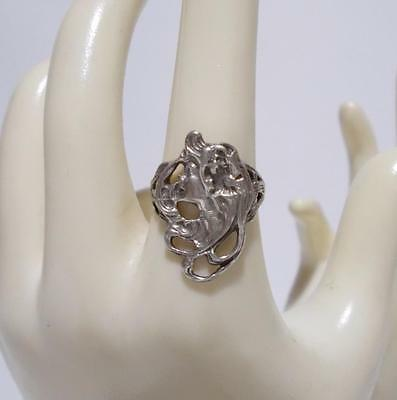 Ladies Face Ring Sterling Silver Art Nouveau Style Size 7
