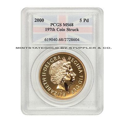2000 Gold Great Britain 5 Pounds PCGS MS68 197th Coin Struck UK  Elizabeth II