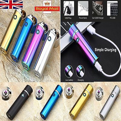 USB Electric Dual Arc Metal Flameless Torch Rechargeable Windproof Lighter UK