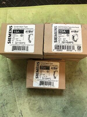 SIEMENS Mix Lot Of 9 Q115AFC & Q120afc 15 AMP ARC FAULT Circuit Breaker