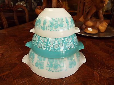 Pyrex Graduated Nesting 3 Bowl Amish Cinderella Butterprint Turuoise Set Nr