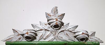 SHABBY PAINT HAND CARVED WOOD PEDIMENT ANTIQUE FRENCH FLOWER SALVAGED CARVING b