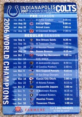 Indianapolis Colts 2007 Schedule Magnet - Last Season In Dome & Sb Champs- Mint!