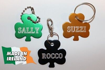 Shamrock, clover, Dogs ID, personalized ID tag, tags dog, badge, pet disc, pets,