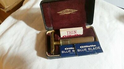 Vintage Gillette Gold Tech Fat Handle Three Piece Safety Razor with Case