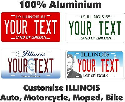 Illinois Custom Personalized Car Motorcycle Moped Bike Bicycle License plate Tag