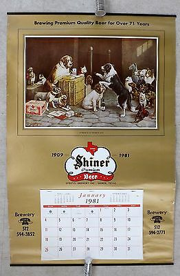 "1981 Texas SHINER BEER Dogs (Breach of Promise) Calendar VINTAGE 18"" x 27"""