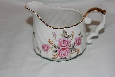 Vintage Lefton Creamer 3167 Beautiful Pink Rose With Gold Trim Scalloped Top