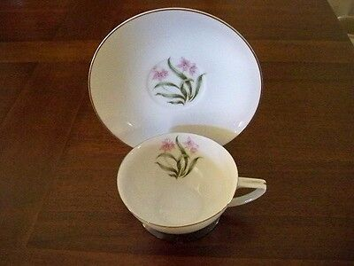 Grant Crest Fine China Tea Cup And Saucer Set Pink Orchid Flower & Silver Trim