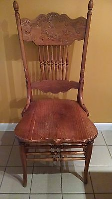 Set of 4 Antique Dining Chairs: Solid Oak Double Pressed Back Carved