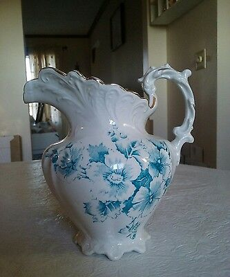 "Antique Pitcher 7.5"" porcelain/ironstone  transferware scalloped & scroll edge"