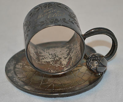 Antique Meridan Company Napkin Ring - LIly Pad with Flower - Silverplate - Nice