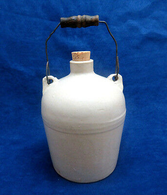 Antique Vintage Macomb Stoneware Pottery Jug w/ Wood & Wire Bale ~ Signed