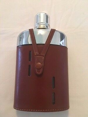 Vintage Griffin Glass Flask With Leather Holder Made In England