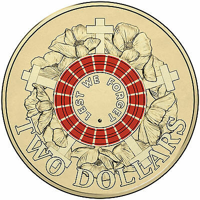 1 x Uncirculated 2015 Red ANZAC Day 2 Lest We Forget Dollar Coin RAM Unc