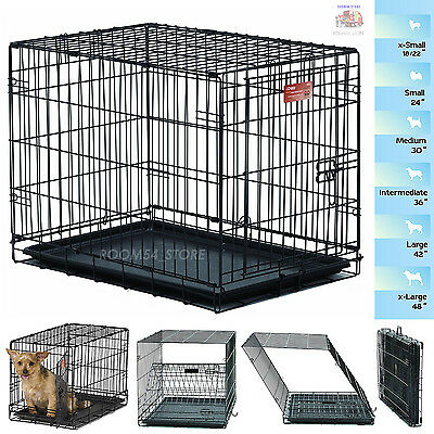 """Dog Folding Crate Kennel Small Extra Large Dog Single Door Training Metal 18-48"""""""